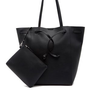 FRENCH CONNECTION drawstring vegan leather tote